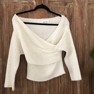 Sweater cross body knit top.